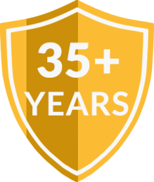 35+ Years of Professional Pest Control Services Badge | Cox Pest Control